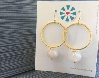 Earrings with Rose Quartz