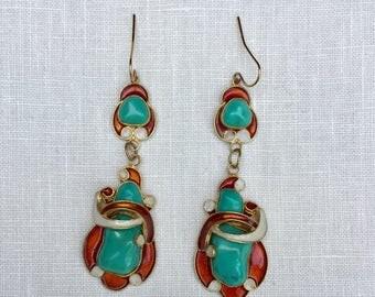 Turquoise Enamel Earrings