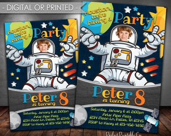 Outer Space Birthday Party Invitation, Astronaut Invitation, Astronaut Birthday Party Invitation, Astronaut Invite, Digital or Printed #585