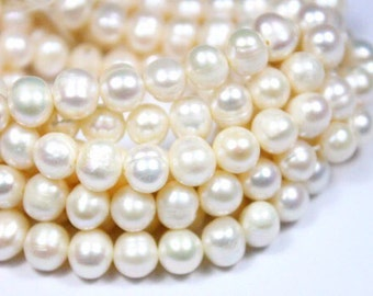 10-11mm White Pearl Beads -  White Pearl - Baroque Pearl Beads - Freshwater Pearl Beads