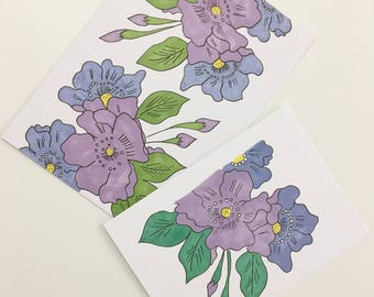 Hand painted purple and blue flowers blank card