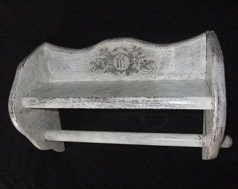 Large Wooden Shabby Wall Shelf with Towel Holder