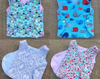 NICU preemie micropreemie newborn infant REVERSIBLE hospital gown diaper shirt