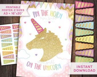 Pin the Horn on the Unicorn, Unicorn props, Unicorn party props, Unicorn party, Unicorn invitation, unicorn birthday, Unicorn games