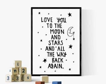 Childrens Print, Childrens Poster, Childrens Room, Nursery Wall Art, Kids Wall Art, Nursery Decor, Monochrome, Nursery Print