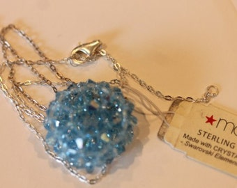 Sterling silver Swarovski blue crystal pendant chain necklace original tag
