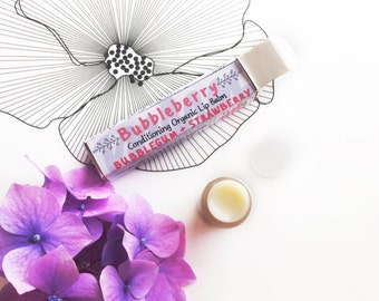 Bubbleberry Organic/Natural Lip Balm in Box- Nourishing, Organic Beeswax & Organic Cocoa Butter, Coconut oil, Sweet Almond Oil - Chapstick