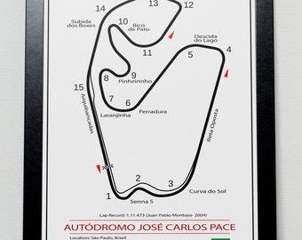 Interlagos Brazilian Grand Prix Track illustration Poster