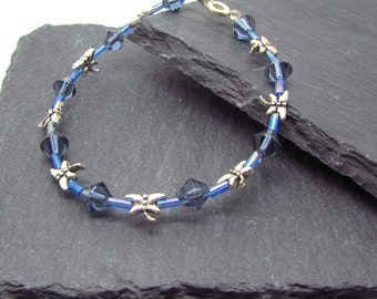 Blue beaded dragonfly bracelet