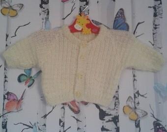 SALE Lemon Cardigan, 0 - 3 Months, Baby Girl, Lemon Sparkly Cardigan, Girls Cardigan, Knitted Cardigan, Handmade