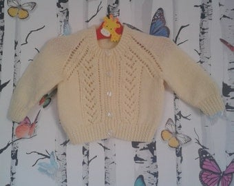 SALE Baby Girl Cardigan, Knitted Cardigan, Hand Knitted, Handmade, Yellow Cardigan, 3 - 6 Months