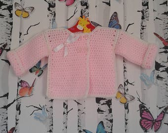 Crochet Cardigan, Girls Cardigan, 0 - 3 Months, Pink Cardigan, Handmade, Baby Shower Gift
