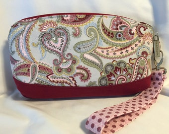 Pink and Gray Paisley Wristlet