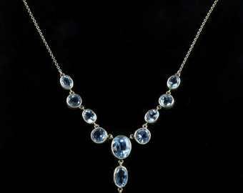 Blue Topaz Aquamarine Necklace 16ct Blue Topaz Gold