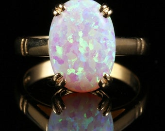 Opal Gold Ring - 6ct Solitaire Opal Gold Ring