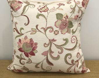 """French Fabric Provincial Pink Floral Flowers Jacquard cushion cover throw pillow. 18"""" (45cm). Made Australia."""