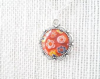 Orange Millefiori Pendant . Silver Plated Chain . Necklace