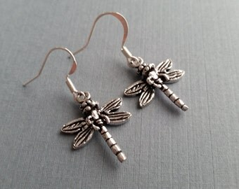 Silver Dragonflies . Earrings