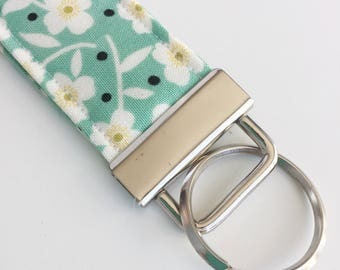 Key Fob, Seafoam Floral Key Wristlet, Decorative Keychain