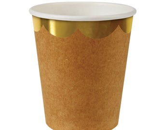 Cups | Meri Meri | Natural Scallop Edge Party Cups | Gold Foil Scallop Rim Paper Cups | Kraft | Party Supplies | The Party Darling