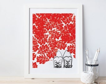 Red Leaves and Shoes Print