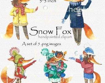 Fox Clipart, foxes clipart, cute fox clip art, cute fox, red fox, red fox clipart, watercolor clipart, new year