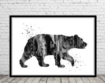 Bear, Bear print, black bear, black bear watercolor, Grizzly, watercolor bear, watercolor Grizzly, kids room decor, bear print (2544b)