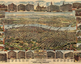 Map of Portland, Oregon OR 1890.   Vintage restoration hardware home Deco Style old wall reproduction map print.