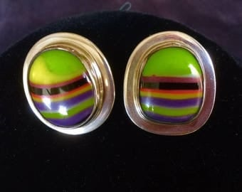 Striped Fused Glass and Sterling Silver post Earrings