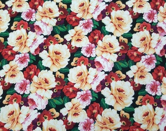 """Techno Fabric Floral Print By the Yard, 60 """" Wide."""