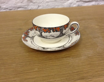 Pair of Vintage Crown Ducal Orange Tree Art Deco Pretty Cup and Saucer