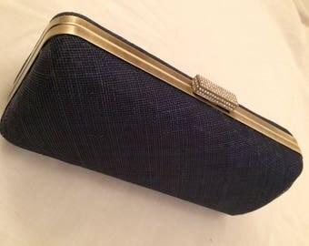 Navy hard case clutch bag, evening bag, going out bag, antique gold frame