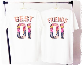 BEST FRIENDS shirts, bff shirs, best friends tee, besties shirts, best friends tee shirts, flower best friends shirts, fleur best friends