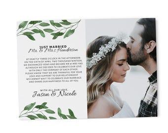 Elopement Announcement Cards Wedding Announcement Cards