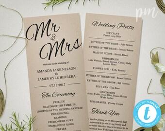 Rustic Wedding Program Template, Printable Mr & Mrs Program Template, Instant Download, Ceremony Program, Print on Kraft Paper