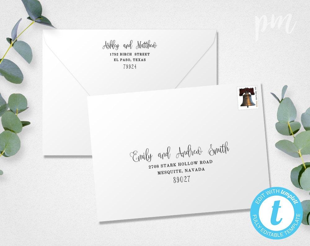 Printing Wedding Invitation Envelopes At Home: Wedding Envelope Template Address Envelope Template DIY