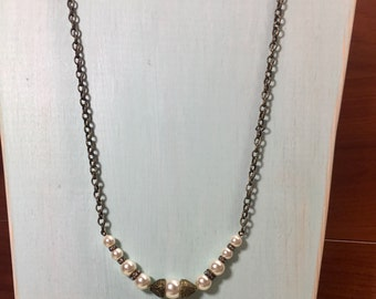 Antique brass pearl necklace