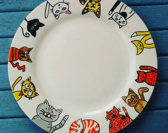 Cat lovers. hand painted plate. Home decor. Unique gift. Gift for her. Cat. Cat lovers gift. Gift. Decoration. Unique gift
