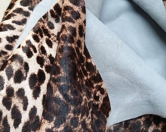 """Leopard Print Hair-on cowhide Leather - 1 square foot (12"""" x 12"""") - 2 mm thick (5oz)"""