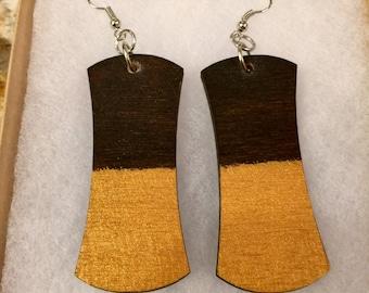 Gold Rustic Wood Earrings
