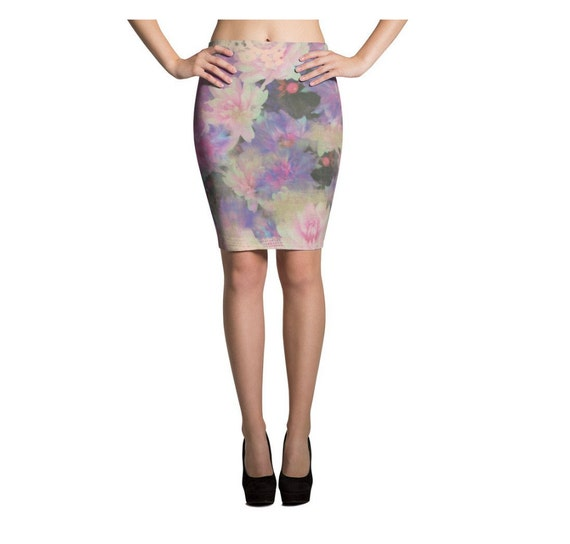 flower floral colorful pencil skirt