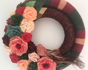 felt flower wreath, double yarn wreath, double wreath, felt flower yarn wreath, felt flower decor , bird wreath, burgundy wreath