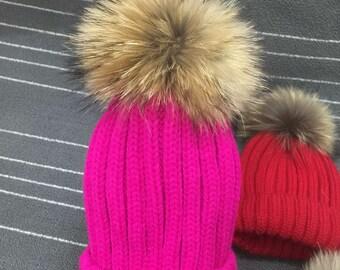 Puffs Pom Pom Hat Fox Fuzzy Cotton Hats Brown Large Big Real Fox Fur Girl Hats Fuchsia-Hot Pink Navy Blue/light pink/dark blue/gray/black