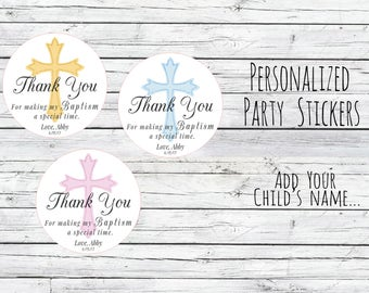 Holy Baptism Stickers, Personalized Christening Communion Gift Labels, Cross, Christening Stickers, Religious Stickers, Catholic, Gold Cross