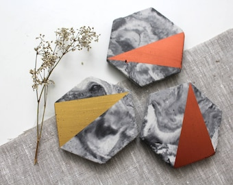 Marble Concrete Hexagon Abstract Coasters Copper Gold