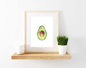 Avocado Watercolor Print. Avocado Print. Kitchen Decor.