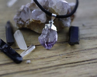 Gold or Silver Dipped Amethyst Pendant Necklace