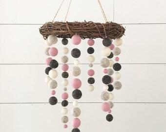 Crib Nursery Mobile - Sweet Baby Girl -  Willows Nest - Pink White Brown Nursery Decor, Woodland Nursery, Baby Girl, Girl Nursery Decor