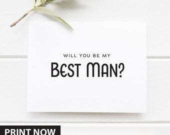 Will You Be My Best man card, Groomsmen proposal card, Printable Bridesmen Card, Printable wedding card,  Instant Download, wedding cards
