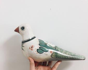 Tonala Pottery / Tonala Bird / Hand Painted Bird / Hand Painted Mexican Bird /  Pottery Bird / Bird Decor